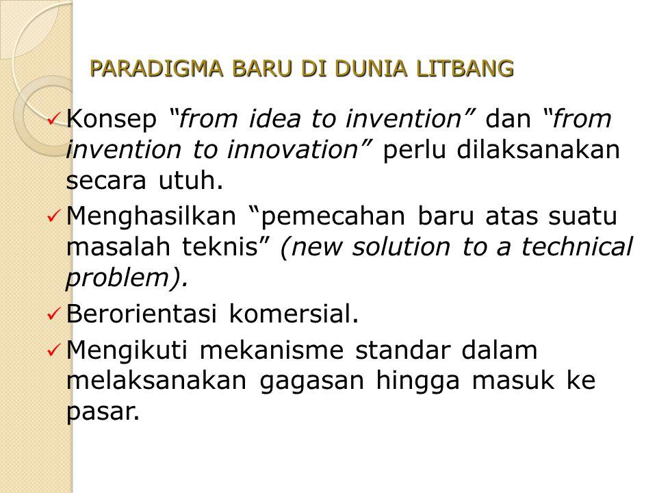 """Konsep """"from idea to invention"""" dan """"from invention to innovation"""" perlu dilaksanakan secara utuh. Menghasilkan """"pemecahan baru atas suatu masalah tek"""