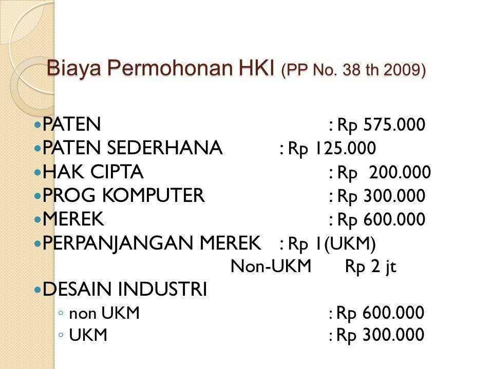 Biaya Permohonan HKI (PP No. 38 th 2009) PATEN: Rp 575.000 PATEN SEDERHANA: Rp 125.000 HAK CIPTA: Rp 200.000 PROG KOMPUTER: Rp 300.000 MEREK: Rp 600.0