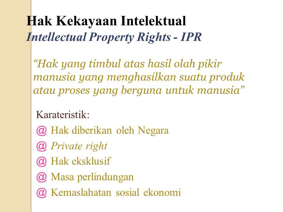 Karateristik: @ Hak diberikan oleh Negara @ Private right @ Hak eksklusif @ Masa perlindungan @ Kemaslahatan sosial ekonomi Hak Kekayaan Intelektual I