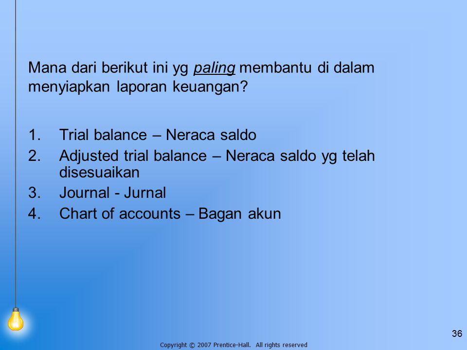 Copyright © 2007 Prentice-Hall. All rights reserved 36 Mana dari berikut ini yg paling membantu di dalam menyiapkan laporan keuangan? 1.Trial balance