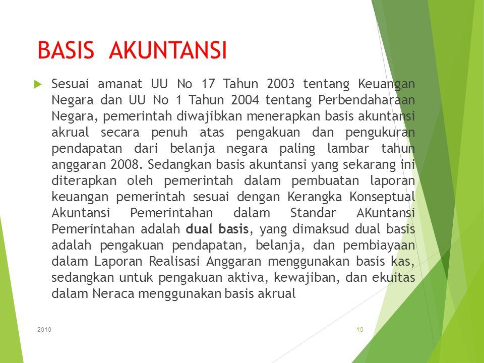 BASIS AKUNTANSI  Sesuai amanat UU No 17 Tahun 2003 tentang Keuangan Negara dan UU No 1 Tahun 2004 tentang Perbendaharaan Negara, pemerintah diwajibka