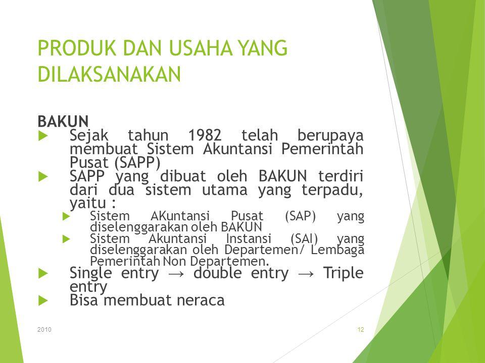 PRODUK DAN USAHA YANG DILAKSANAKAN BAKUN  Sejak tahun 1982 telah berupaya membuat Sistem Akuntansi Pemerintah Pusat (SAPP)  SAPP yang dibuat oleh BA