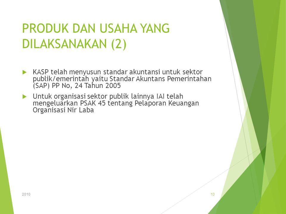 PRODUK DAN USAHA YANG DILAKSANAKAN (2)  KASP telah menyusun standar akuntansi untuk sektor publik/emerintah yaitu Standar Akuntans Pemerintahan (SAP)