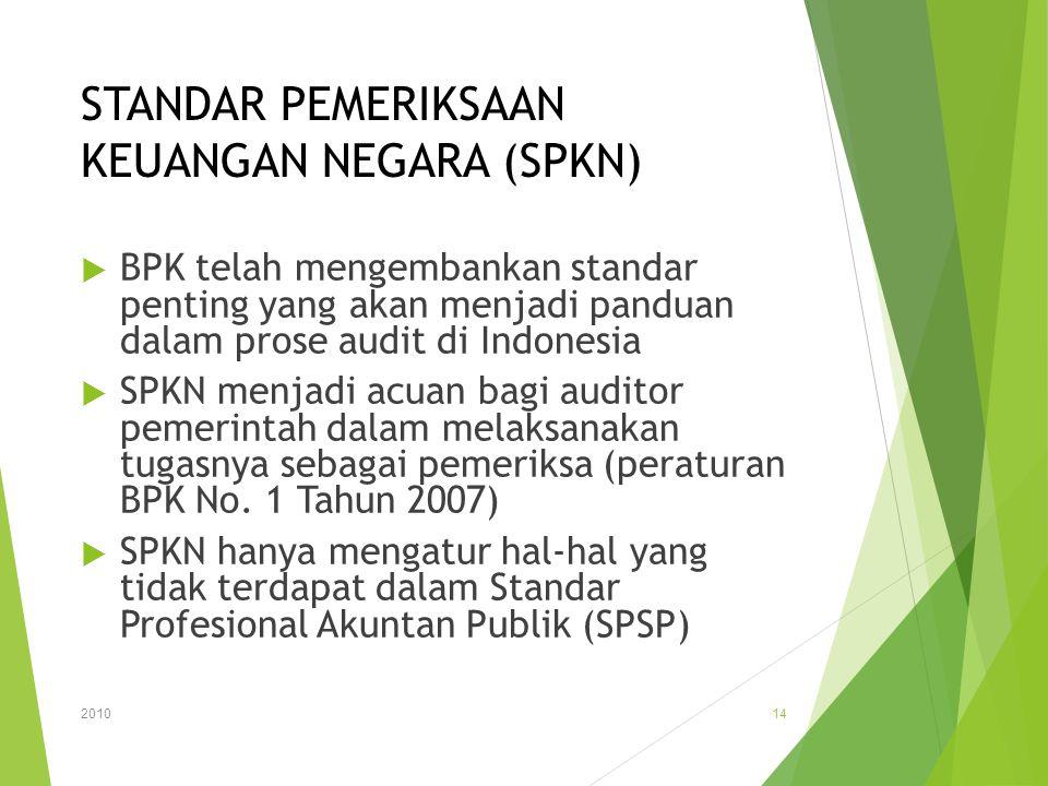STANDAR PEMERIKSAAN KEUANGAN NEGARA (SPKN)  BPK telah mengembankan standar penting yang akan menjadi panduan dalam prose audit di Indonesia  SPKN me