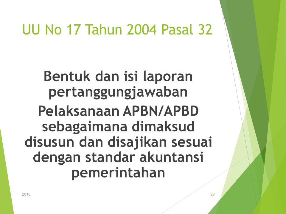 UU No 17 Tahun 2004 Pasal 32 Bentuk dan isi laporan pertanggungjawaban Pelaksanaan APBN/APBD sebagaimana dimaksud disusun dan disajikan sesuai dengan