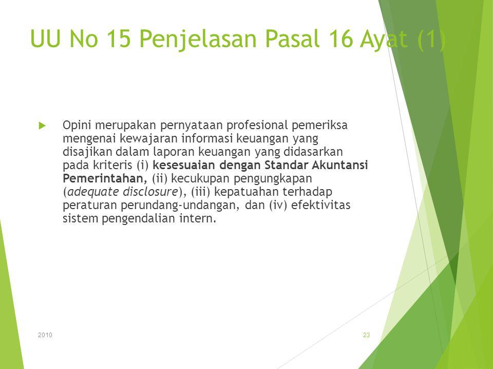 UU No 15 Penjelasan Pasal 16 Ayat (1)  Opini merupakan pernyataan profesional pemeriksa mengenai kewajaran informasi keuangan yang disajikan dalam la