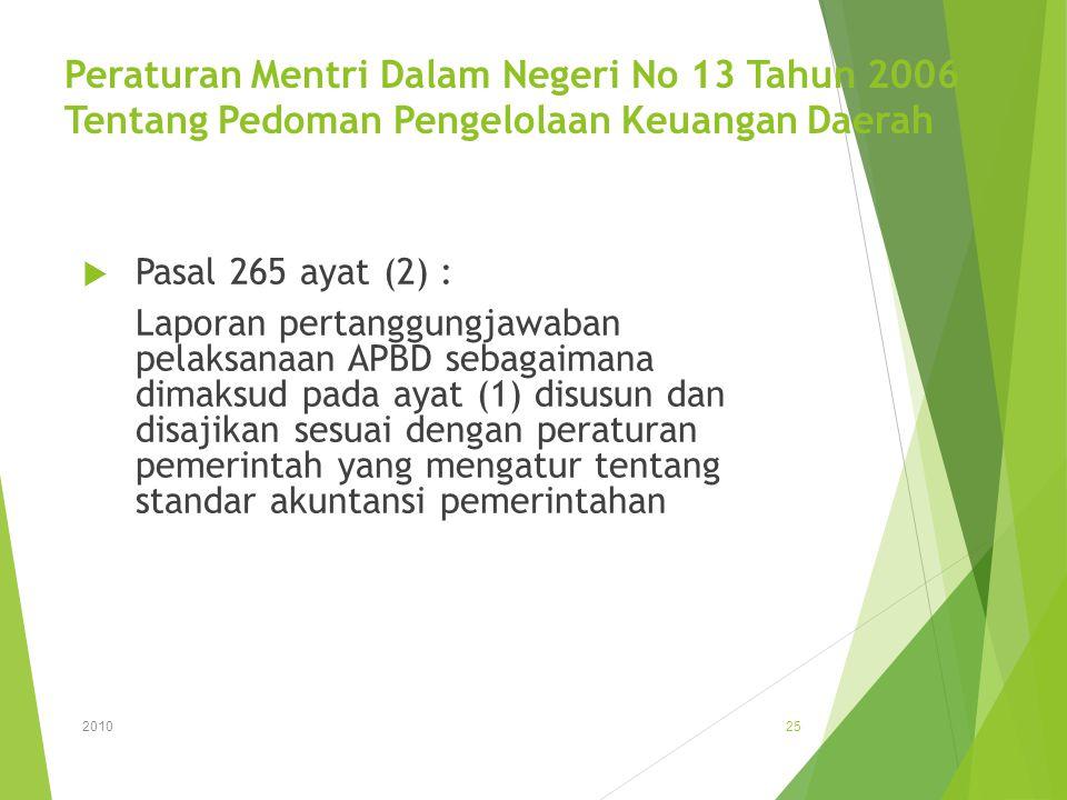 Peraturan Mentri Dalam Negeri No 13 Tahun 2006 Tentang Pedoman Pengelolaan Keuangan Daerah  Pasal 265 ayat (2) : Laporan pertanggungjawaban pelaksana