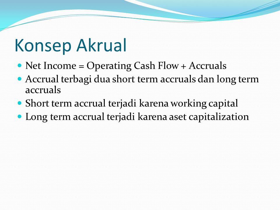 Konsep Akrual Net Income = Operating Cash Flow + Accruals Accrual terbagi dua short term accruals dan long term accruals Short term accrual terjadi ka