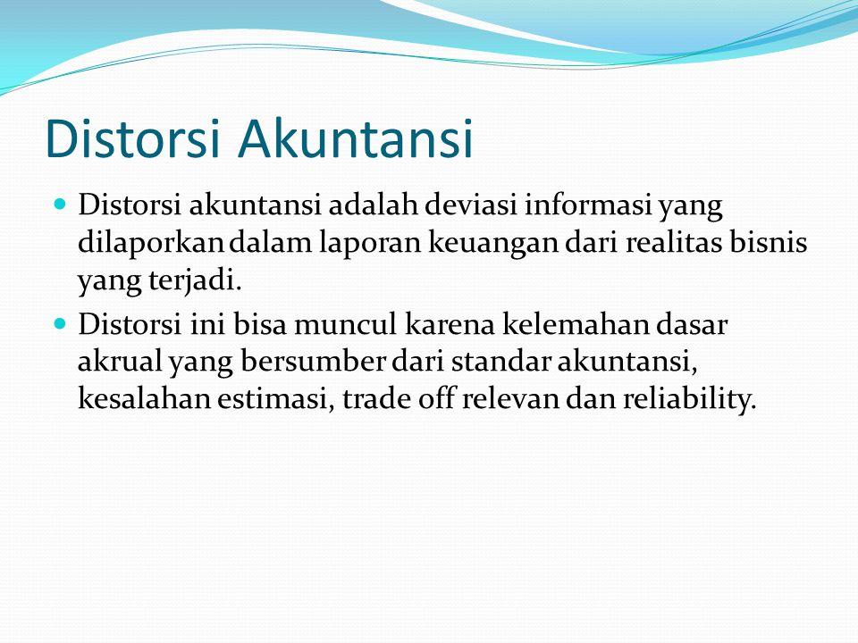 Distorsi Akuntansi Distorsi akuntansi adalah deviasi informasi yang dilaporkan dalam laporan keuangan dari realitas bisnis yang terjadi. Distorsi ini