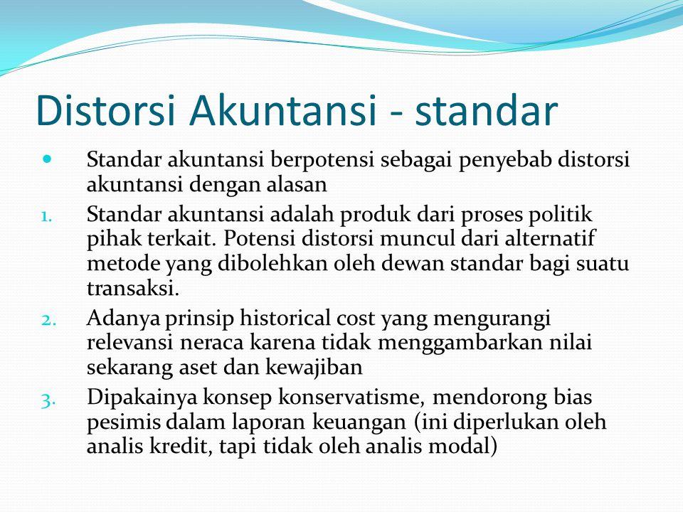 Distorsi Akuntansi - standar Standar akuntansi berpotensi sebagai penyebab distorsi akuntansi dengan alasan 1. Standar akuntansi adalah produk dari pr