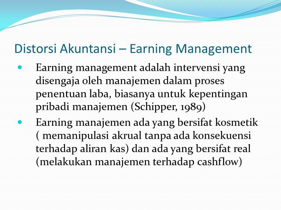 Distorsi Akuntansi – Earning Management Earning management adalah intervensi yang disengaja oleh manajemen dalam proses penentuan laba, biasanya untuk