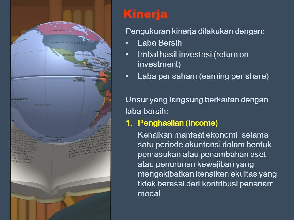 Kinerja Pengukuran kinerja dilakukan dengan: Laba Bersih Imbal hasil investasi (return on investment) Laba per saham (earning per share) Unsur yang la