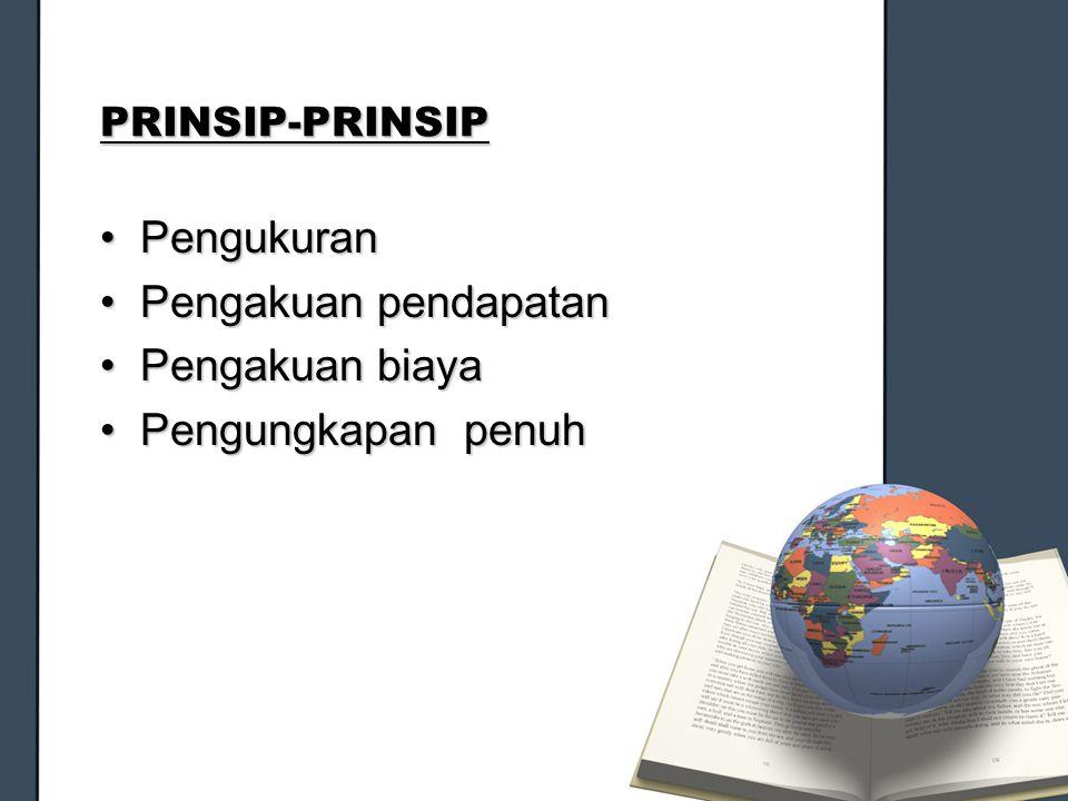 PRINSIP-PRINSIP PengukuranPengukuran Pengakuan pendapatanPengakuan pendapatan Pengakuan biayaPengakuan biaya Pengungkapan penuhPengungkapan penuh