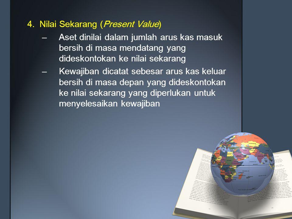 4.Nilai Sekarang (Present Value) –Aset dinilai dalam jumlah arus kas masuk bersih di masa mendatang yang dideskontokan ke nilai sekarang –Kewajiban di
