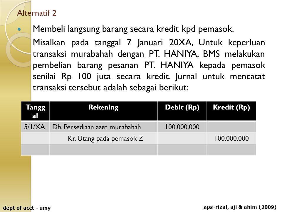 aps-rizal, aji & ahim (2009) dept of acct - umy Alternatif 2 Membeli langsung barang secara kredit kpd pemasok. Misalkan pada tanggal 7 Januari 20XA,