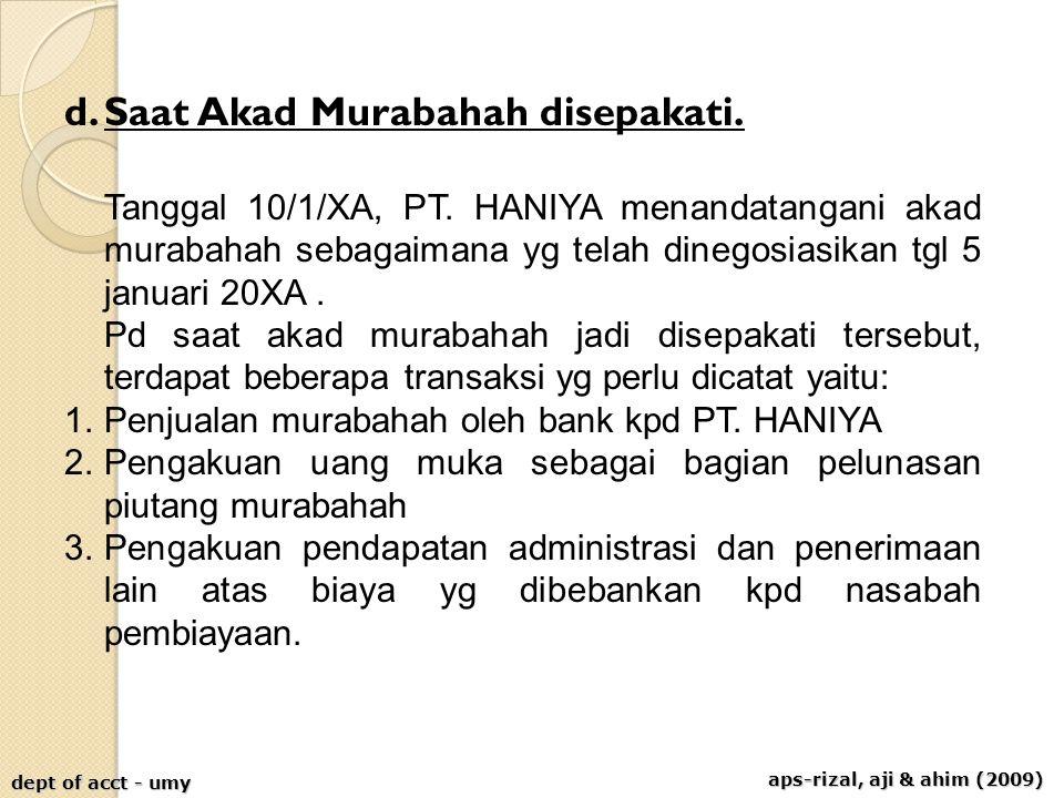 aps-rizal, aji & ahim (2009) dept of acct - umy d.Saat Akad Murabahah disepakati. Tanggal 10/1/XA, PT. HANIYA menandatangani akad murabahah sebagaiman