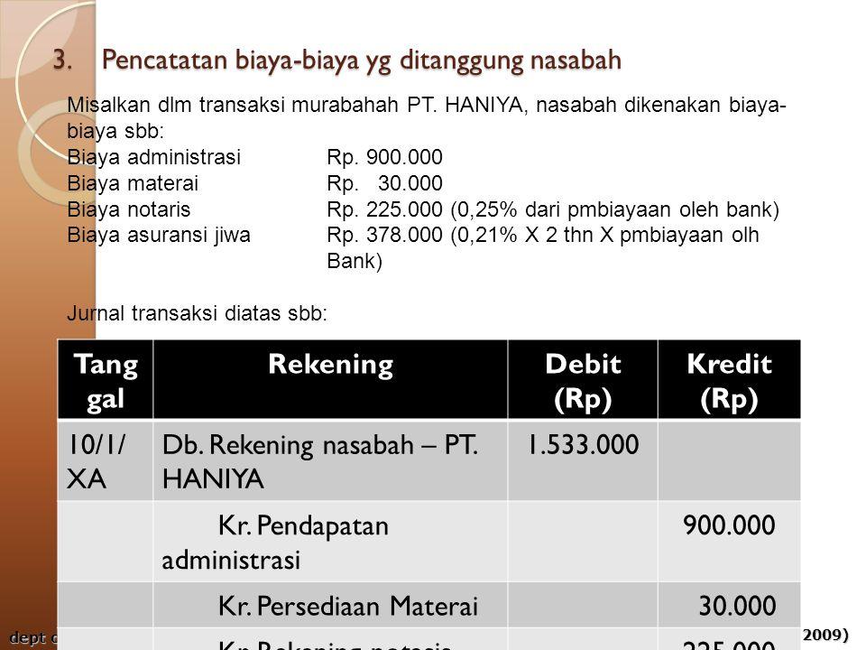 aps-rizal, aji & ahim (2009) dept of acct - umy 3. Pencatatan biaya-biaya yg ditanggung nasabah Tang gal RekeningDebit (Rp) Kredit (Rp) 10/1/ XA Db. R