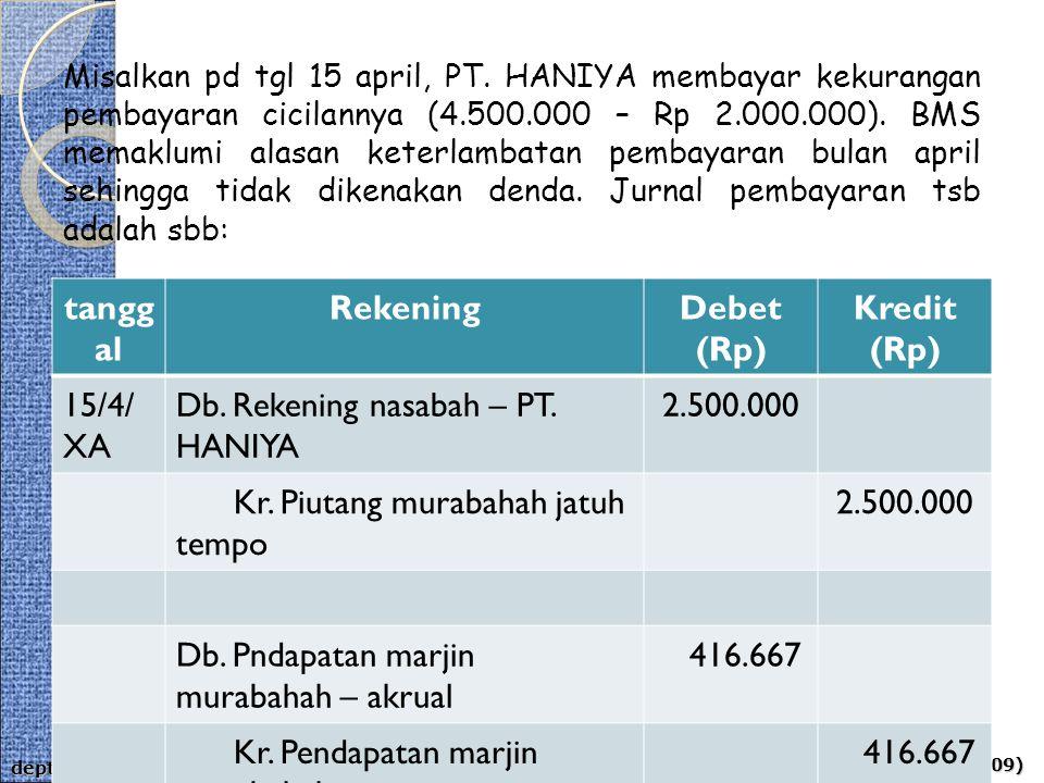 aps-rizal, aji & ahim (2009) dept of acct - umy Misalkan pd tgl 15 april, PT. HANIYA membayar kekurangan pembayaran cicilannya (4.500.000 – Rp 2.000.0