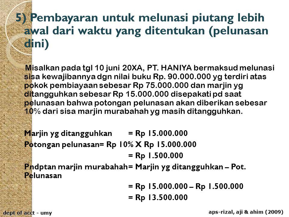aps-rizal, aji & ahim (2009) dept of acct - umy 5) Pembayaran untuk melunasi piutang lebih awal dari waktu yang ditentukan (pelunasan dini) Misalkan p