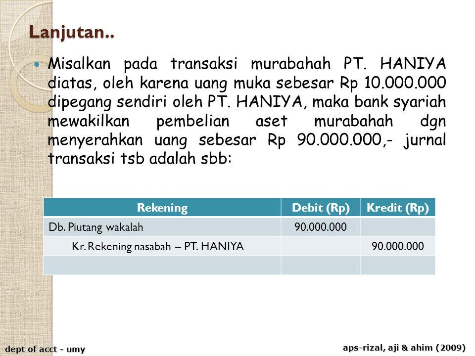 aps-rizal, aji & ahim (2009) dept of acct - umy Lanjutan.. Misalkan pada transaksi murabahah PT. HANIYA diatas, oleh karena uang muka sebesar Rp 10.00