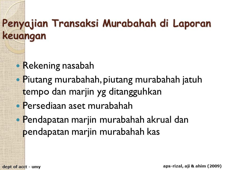 aps-rizal, aji & ahim (2009) dept of acct - umy Penyajian Transaksi Murabahah di Laporan keuangan Rekening nasabah Piutang murabahah, piutang murabaha