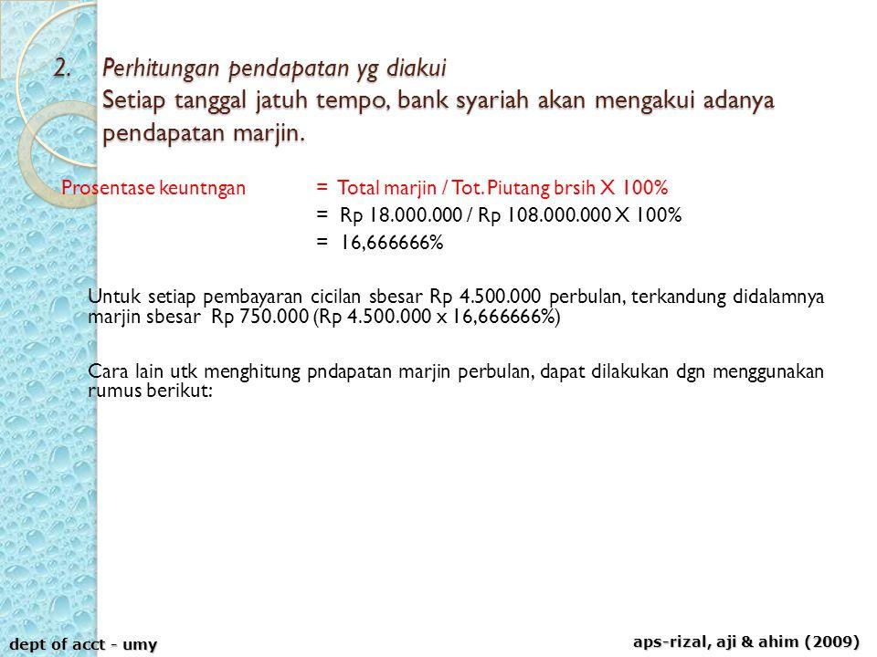 aps-rizal, aji & ahim (2009) dept of acct - umy 2.Perhitungan pendapatan yg diakui Setiap tanggal jatuh tempo, bank syariah akan mengakui adanya penda