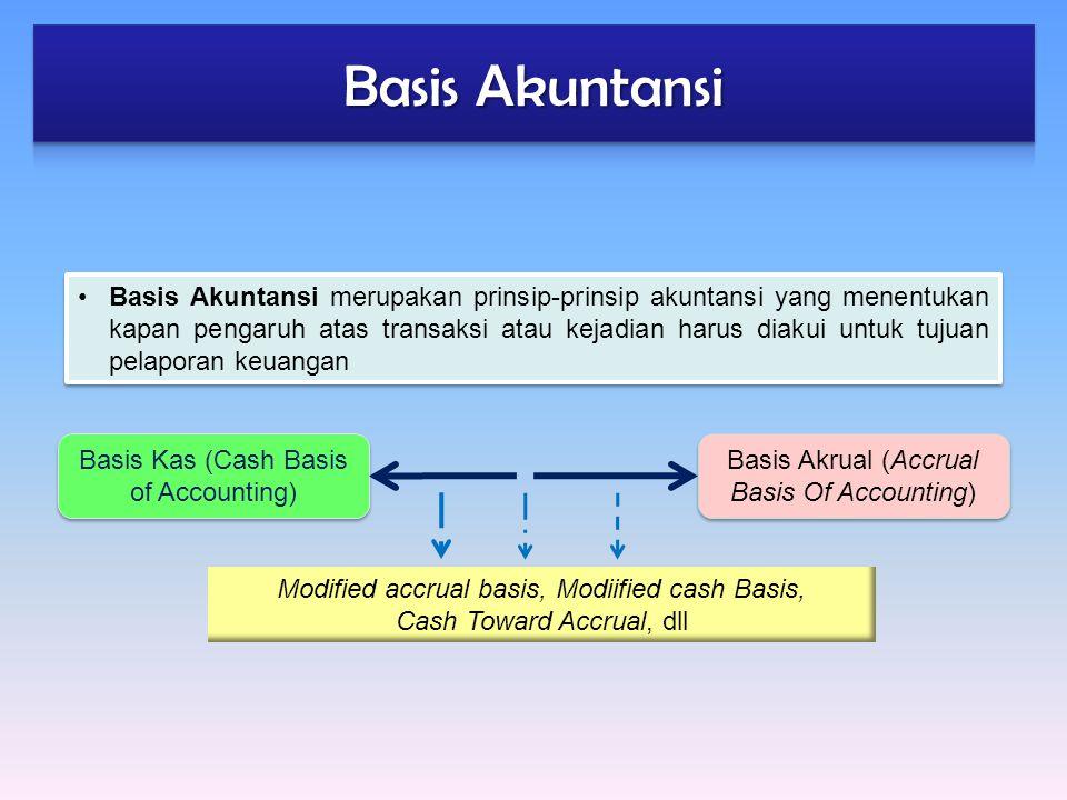 Basis Akuntansi merupakan prinsip-prinsip akuntansi yang menentukan kapan pengaruh atas transaksi atau kejadian harus diakui untuk tujuan pelaporan ke