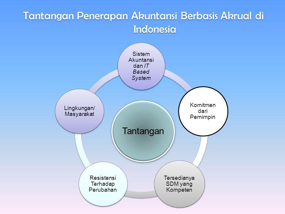 Tantangan Penerapan Akuntansi Berbasis Akrual di Indonesia Tantangan Sistem Akuntansi dan IT Based System Komitmen dari Pemimpin Tersedianya SDM yang