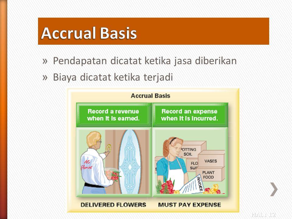 HAL : 12 » Pendapatan dicatat ketika jasa diberikan » Biaya dicatat ketika terjadi