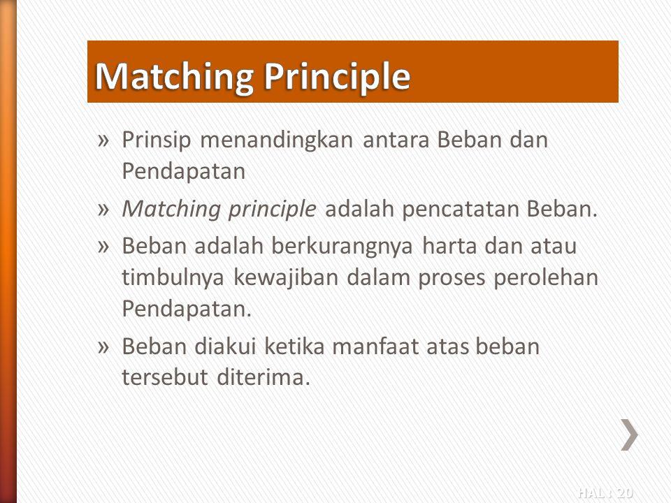 HAL : 20 » Prinsip menandingkan antara Beban dan Pendapatan » Matching principle adalah pencatatan Beban. » Beban adalah berkurangnya harta dan atau t