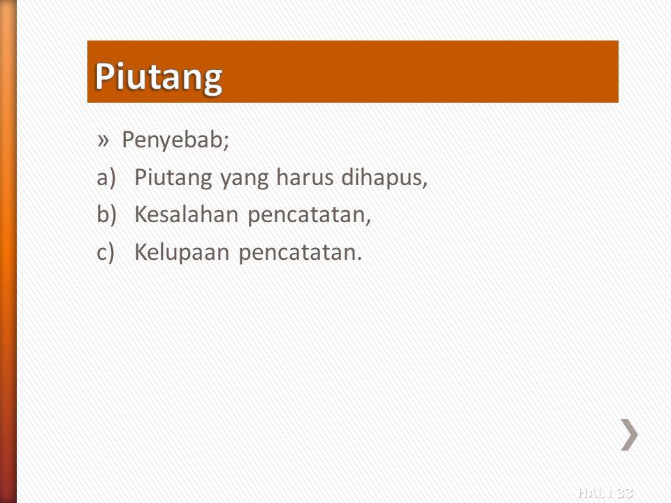 HAL : 33 » Penyebab; a)Piutang yang harus dihapus, b)Kesalahan pencatatan, c)Kelupaan pencatatan.