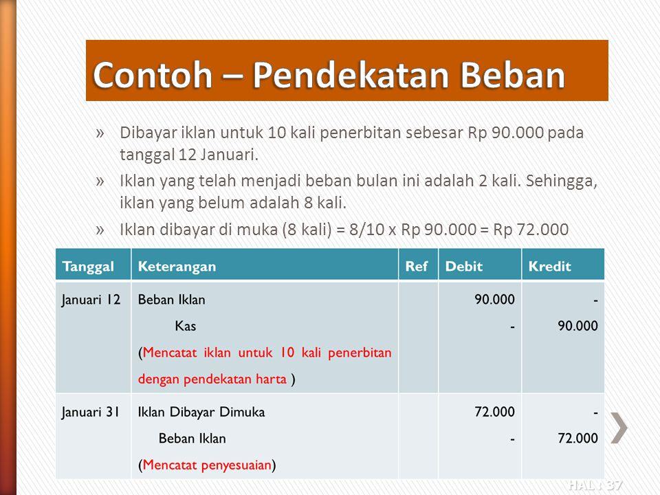 HAL : 37 » Dibayar iklan untuk 10 kali penerbitan sebesar Rp 90.000 pada tanggal 12 Januari. » Iklan yang telah menjadi beban bulan ini adalah 2 kali.