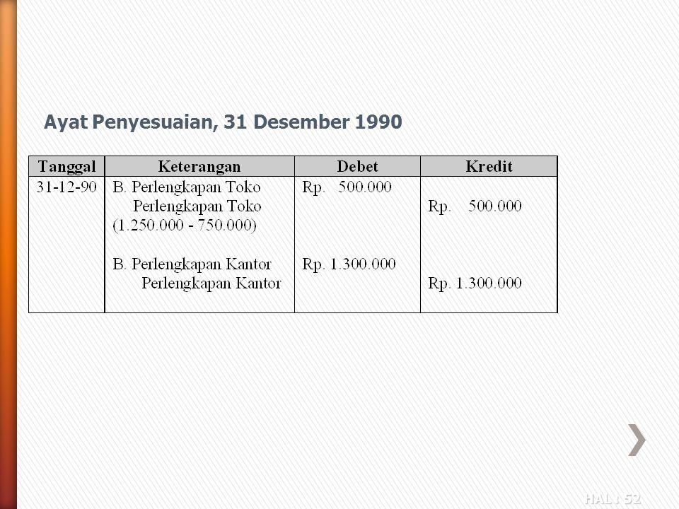 HAL : 52 Ayat Penyesuaian, 31 Desember 1990