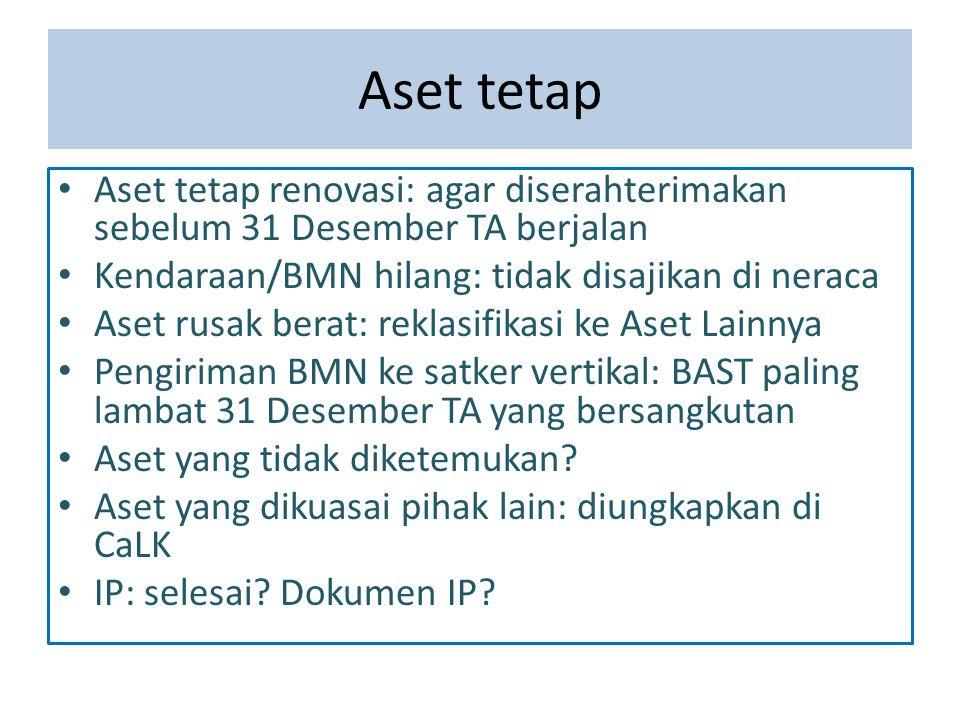 Aset tetap Aset tetap renovasi: agar diserahterimakan sebelum 31 Desember TA berjalan Kendaraan/BMN hilang: tidak disajikan di neraca Aset rusak berat
