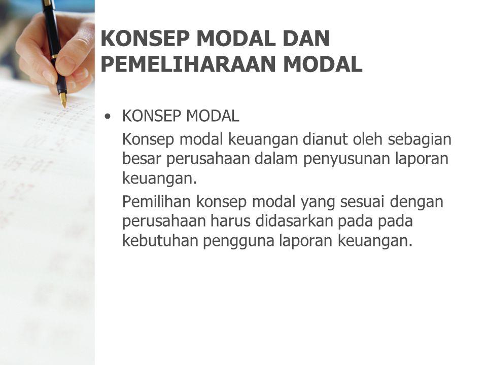 KONSEP MODAL DAN PEMELIHARAAN MODAL KONSEP MODAL Konsep modal keuangan dianut oleh sebagian besar perusahaan dalam penyusunan laporan keuangan. Pemili