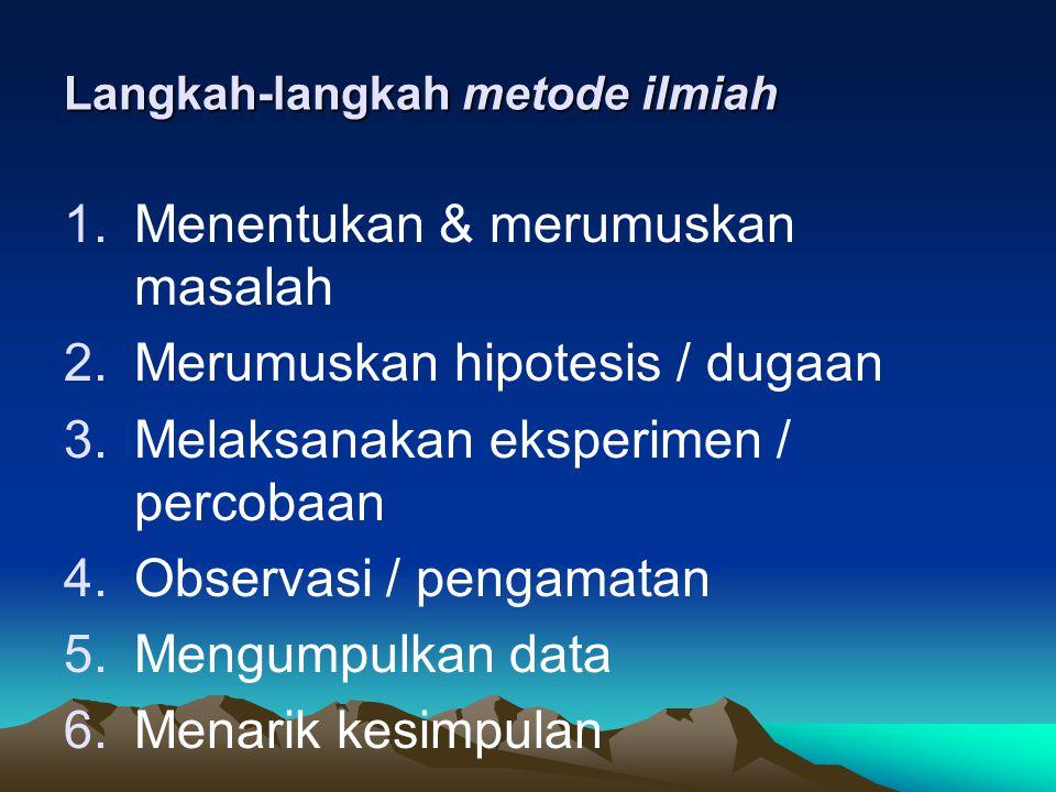 Biologi : mempelajari mahluk hidup dan gejala gejala kehidupannya B. Kerja ilmiah  Metode Ilmiah Metode yg tersusun secara sistematis untuk memecahka