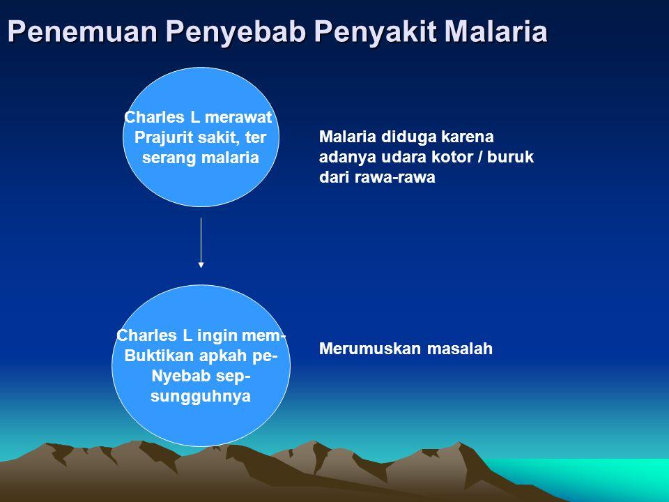 Penemuan Penyebab Penyakit Malaria Charles L merawat Prajurit sakit, ter serang malaria Charles L ingin mem- Buktikan apkah pe- Nyebab sep- sungguhnya Malaria diduga karena adanya udara kotor / buruk dari rawa-rawa Merumuskan masalah