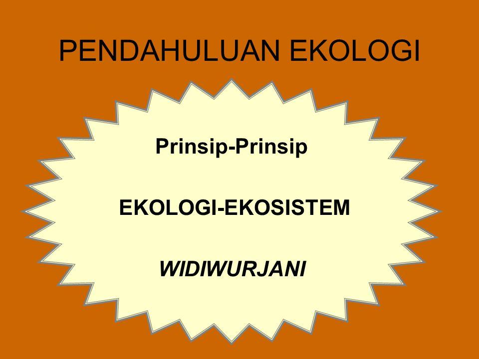 PENDAHULUAN EKOLOGI Prinsip-Prinsip EKOLOGI-EKOSISTEM WIDIWURJANI
