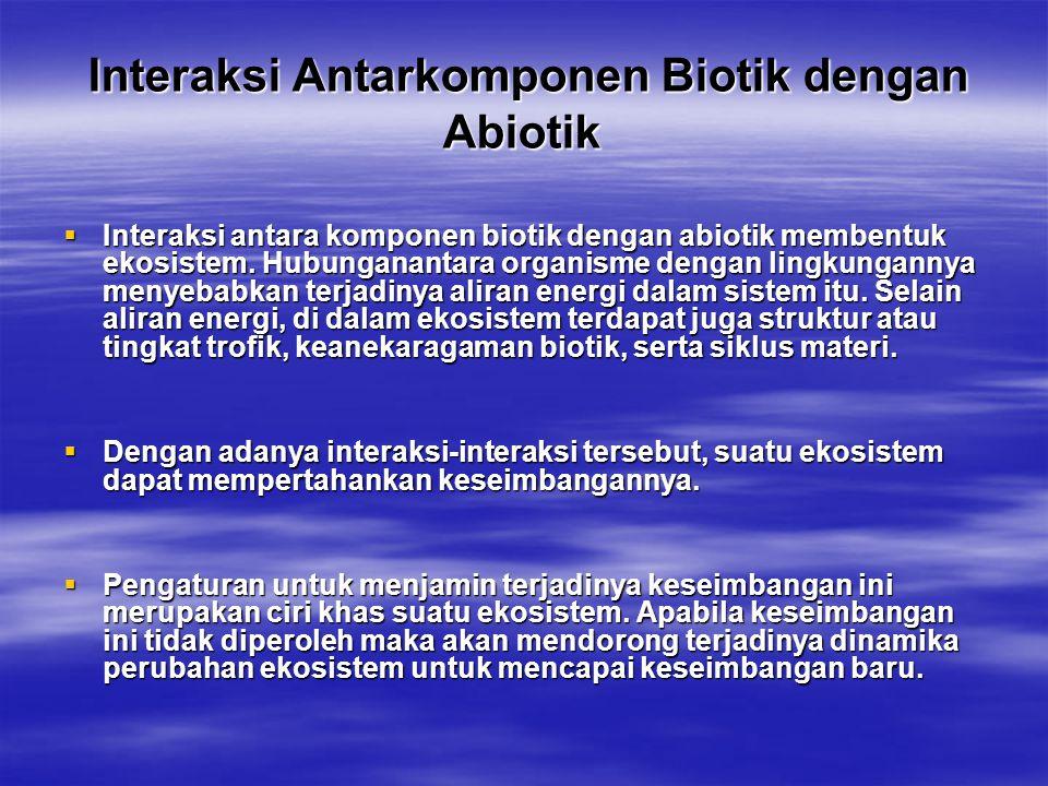 Interaksi Antarkomponen Biotik dengan Abiotik Interaksi Antarkomponen Biotik dengan Abiotik  Interaksi antara komponen biotik dengan abiotik membentu