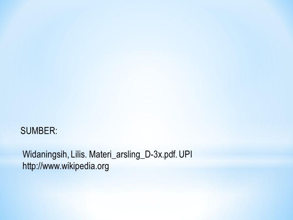 SUMBER: Widaningsih, Lilis. Materi_arsling_D-3x.pdf. UPI http://www.wikipedia.org