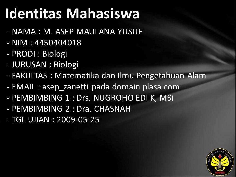 Identitas Mahasiswa - NAMA : M.