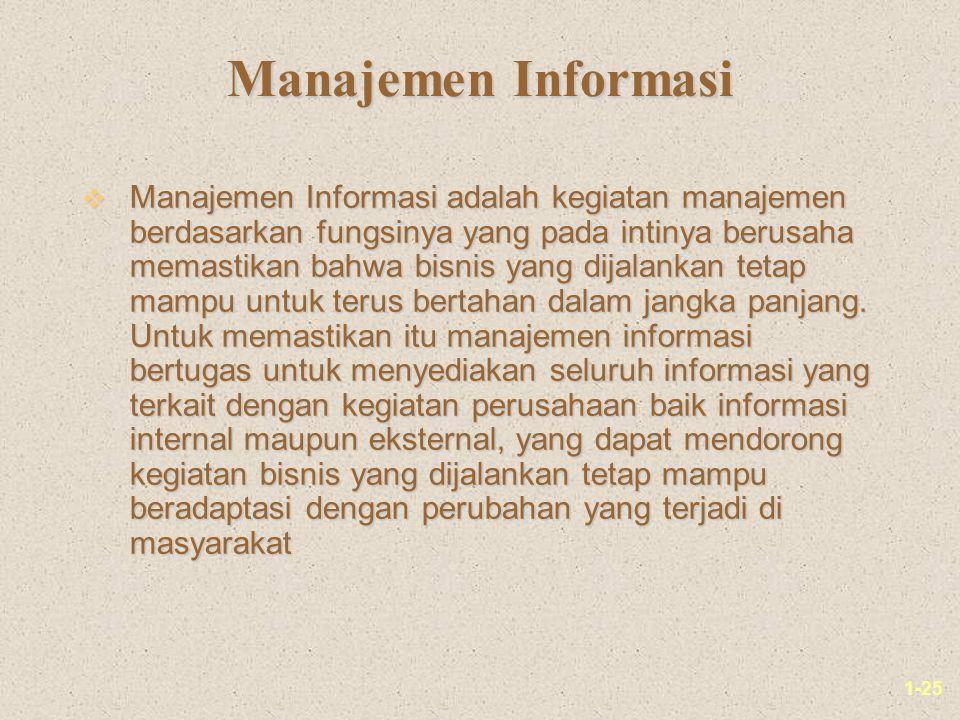 1-25 Manajemen Informasi v Manajemen Informasi adalah kegiatan manajemen berdasarkan fungsinya yang pada intinya berusaha memastikan bahwa bisnis yang dijalankan tetap mampu untuk terus bertahan dalam jangka panjang.