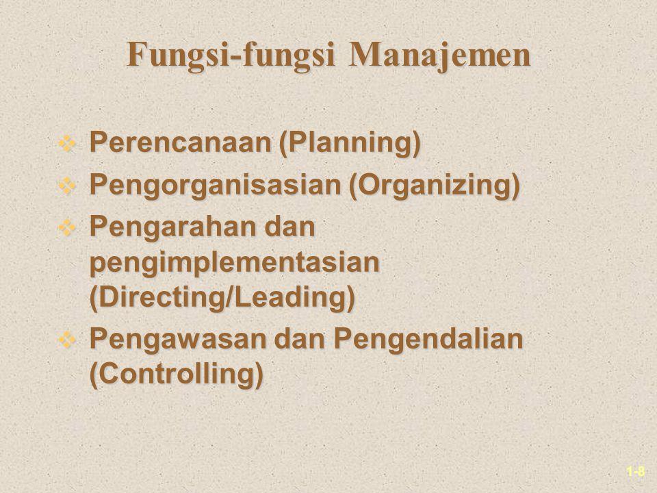 1-8 Fungsi-fungsi Manajemen v Perencanaan (Planning) v Pengorganisasian (Organizing) v Pengarahan dan pengimplementasian (Directing/Leading) v Pengawasan dan Pengendalian (Controlling)