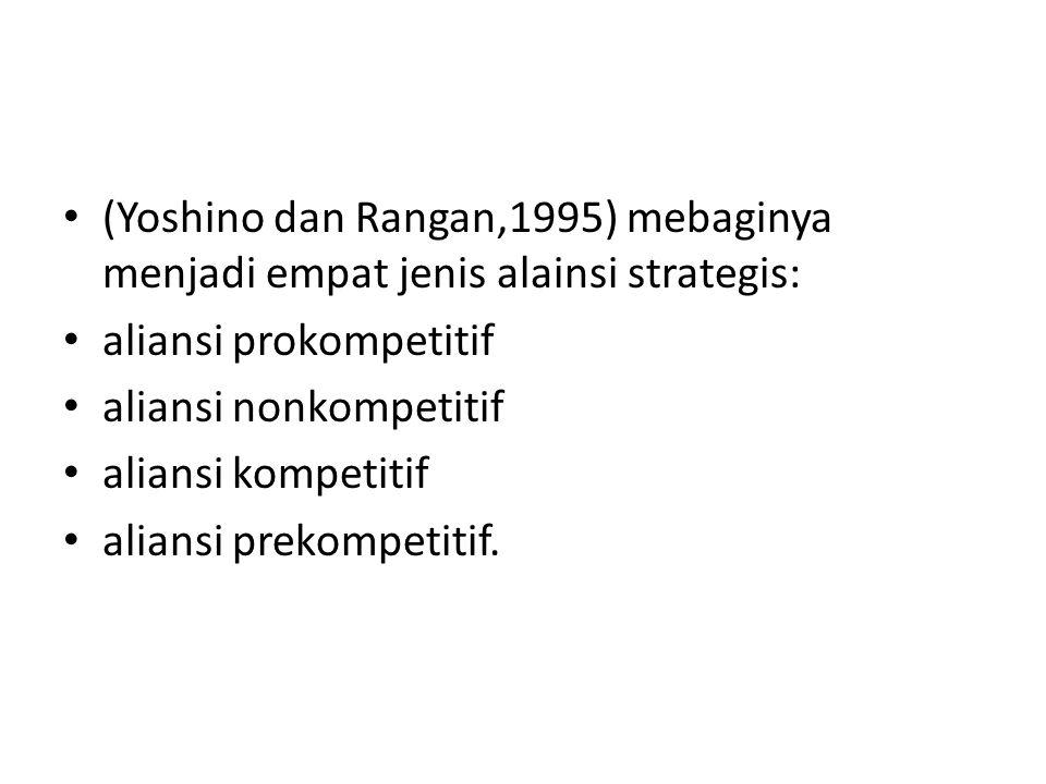 (Yoshino dan Rangan,1995) mebaginya menjadi empat jenis alainsi strategis: aliansi prokompetitif aliansi nonkompetitif aliansi kompetitif aliansi prek