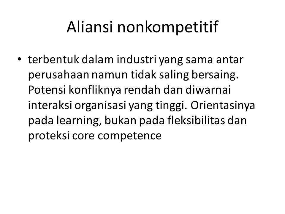 Aliansi nonkompetitif terbentuk dalam industri yang sama antar perusahaan namun tidak saling bersaing. Potensi konfliknya rendah dan diwarnai interaks