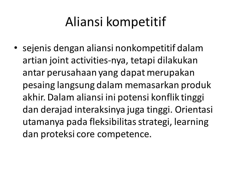 Aliansi kompetitif sejenis dengan aliansi nonkompetitif dalam artian joint activities-nya, tetapi dilakukan antar perusahaan yang dapat merupakan pesa