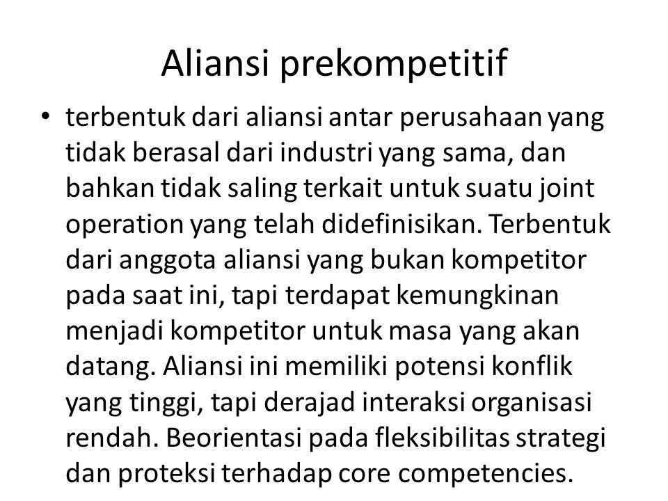 Aliansi prekompetitif terbentuk dari aliansi antar perusahaan yang tidak berasal dari industri yang sama, dan bahkan tidak saling terkait untuk suatu