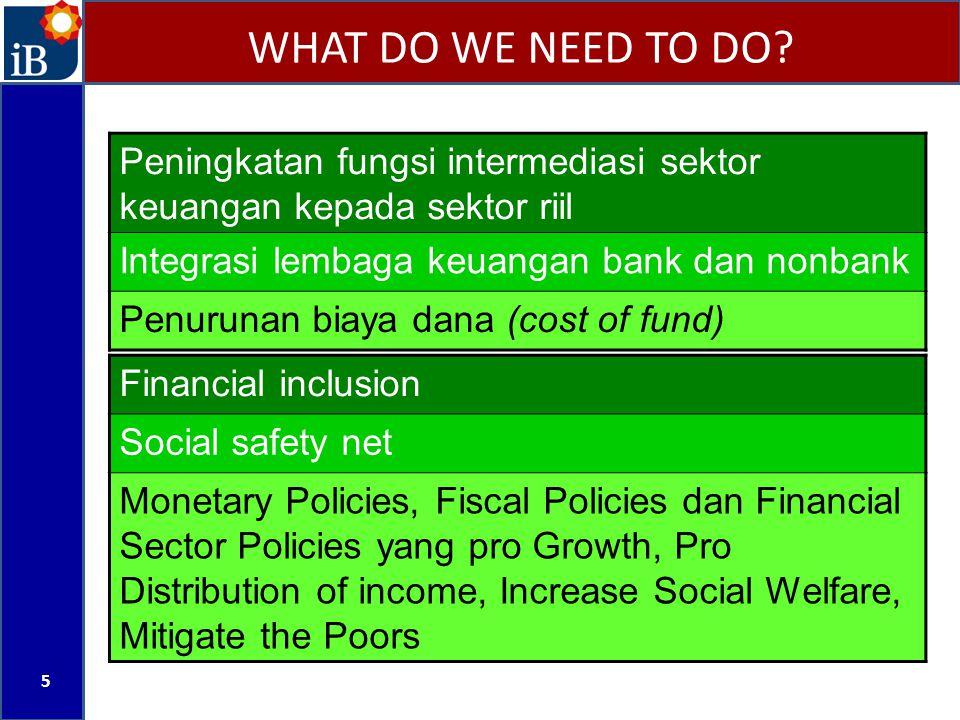 WHAT DO WE NEED TO DO? 5 Peningkatan fungsi intermediasi sektor keuangan kepada sektor riil Integrasi lembaga keuangan bank dan nonbank Penurunan biay
