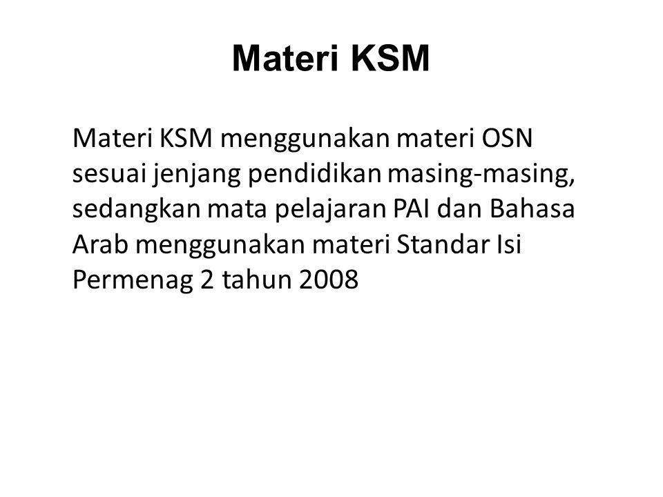 Materi KSM Materi KSM menggunakan materi OSN sesuai jenjang pendidikan masing-masing, sedangkan mata pelajaran PAI dan Bahasa Arab menggunakan materi