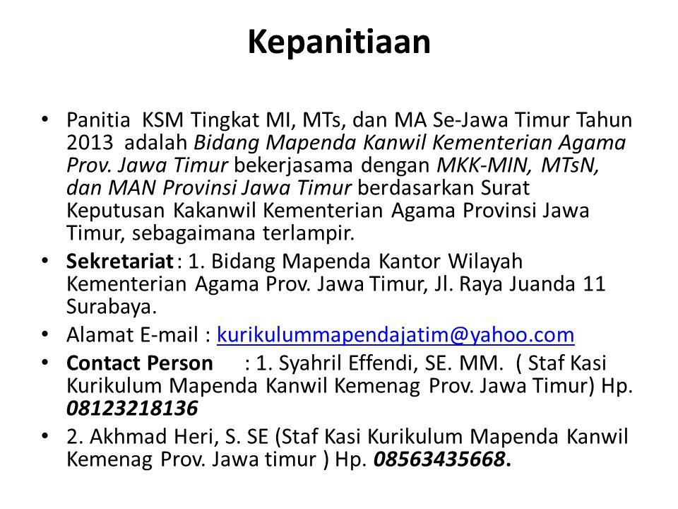 Kepanitiaan Panitia KSM Tingkat MI, MTs, dan MA Se-Jawa Timur Tahun 2013 adalah Bidang Mapenda Kanwil Kementerian Agama Prov. Jawa Timur bekerjasama d